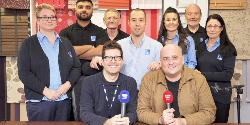 The UC Blinds Team with Danny Kelly & Kevin Pashby from BBC Radio WM 95.6Fm