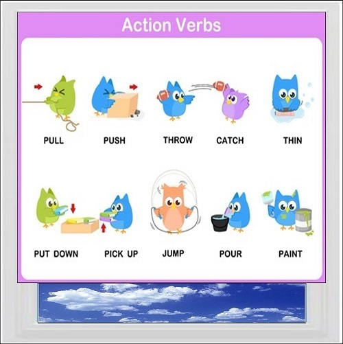 Action Verbs 1 Digitally Printed Photo Roller Blind