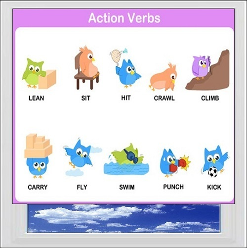 Action Verbs 2 Digitally Printed Photo Roller Blind