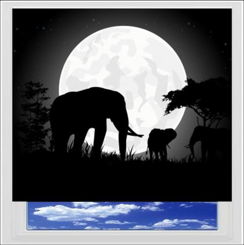 African Elephant silhouette Digitally Printed Roller Blind