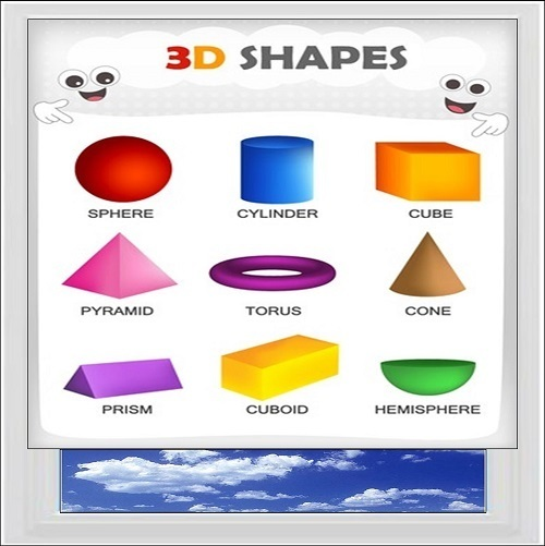 Basic 3D Shapes Digitally Printed Photo Roller Blind