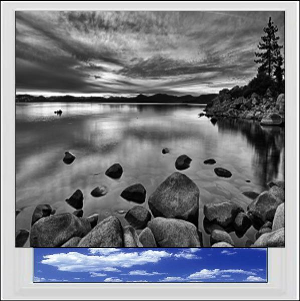 Black and White Lake Digitally Printed Photo Roller Blind