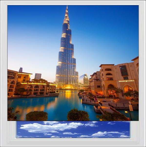 Burj Khalifa In Dubai Digitally Printed Photo Roller Blind