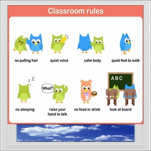 Classroom Rules 1 Digitally Printed Photo Roller Blind