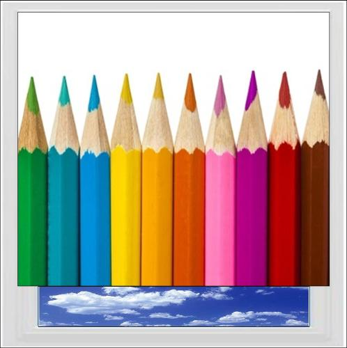 Colouring Pencils Digitally Printed Photo Roller Blind