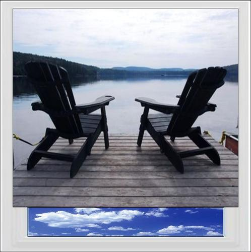 Deckchairs By The Lake Digitally Printed Photo Roller Blind