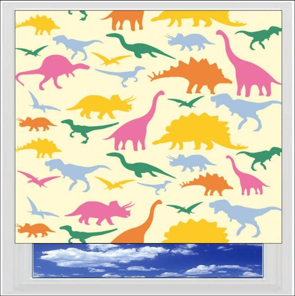 Dinosaurs Yellow blackout roller blind