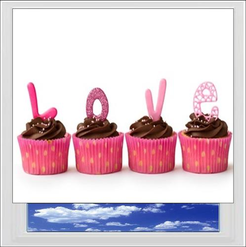 I Love Cupcakes Digitally Printed Photo Roller Blind