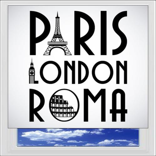 London Paris Rome Digitally Printed Photo Roller Blind