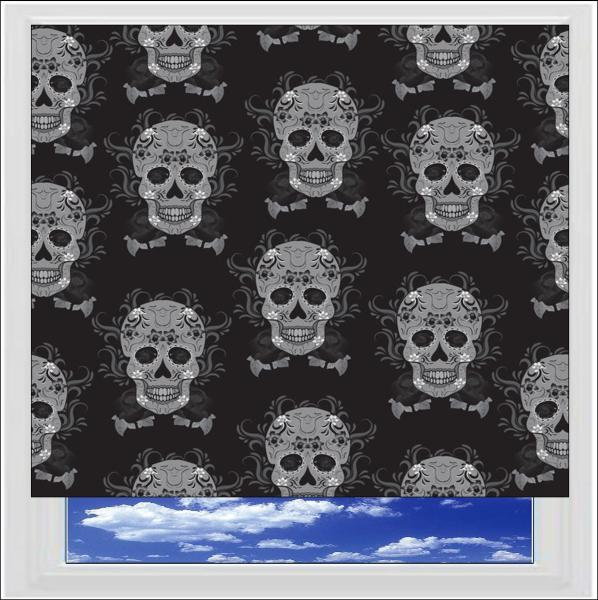 Mexican Skull Grey Digitally Printed Photo Roller Blind