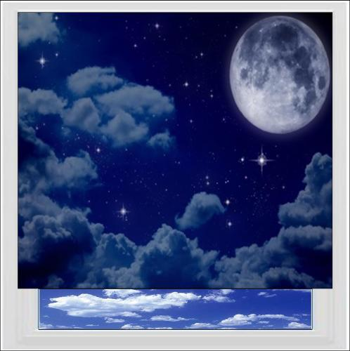 Moon and Stars Digitally Printed Photo Roller Blind