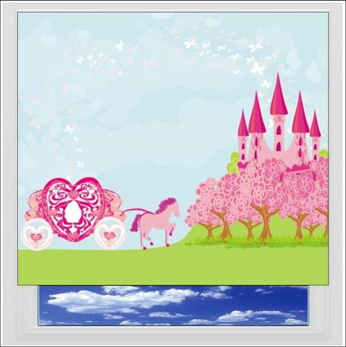 Pink Fairytale Castle Digitally Printed Photo Roller Blind