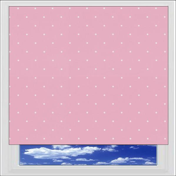 Polka Dots Candy Pink blackout roller blind