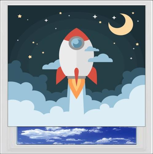 Rocket Ship Digitally Printed Photo Roller Blind