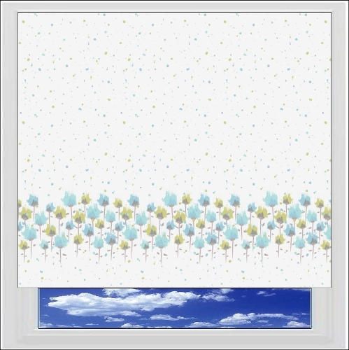 Splash Blue Patterned roller blind
