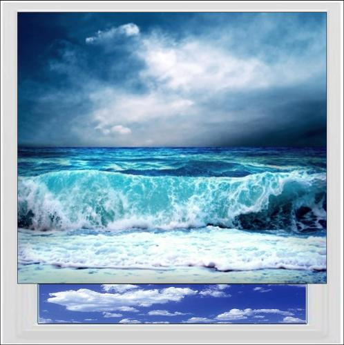 Stormy Waves Digitally Printed Photo Roller Blind