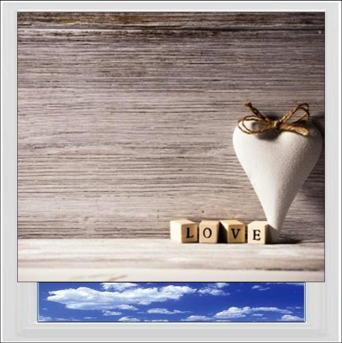 Vintage style Love Digitally Printed Photo Roller Blind