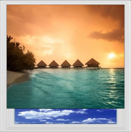 Water Bungalows Digitally Printed Photo Roller Blind