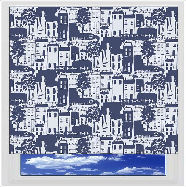 Whitby Navy PVC Roller Blind