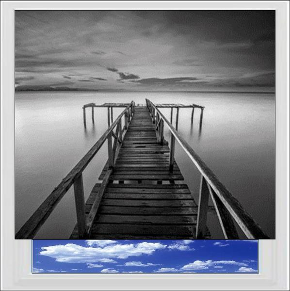 Wooden Jetty Digitally Printed Photo Roller Blind