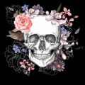 Skull and Flowers Digitally Printed Photo Roller Blinds